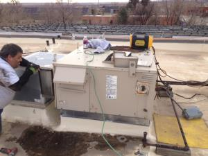 We are reinstalling the new rtu. Reconnect gas, electrical, duct work, and low voltage connections.